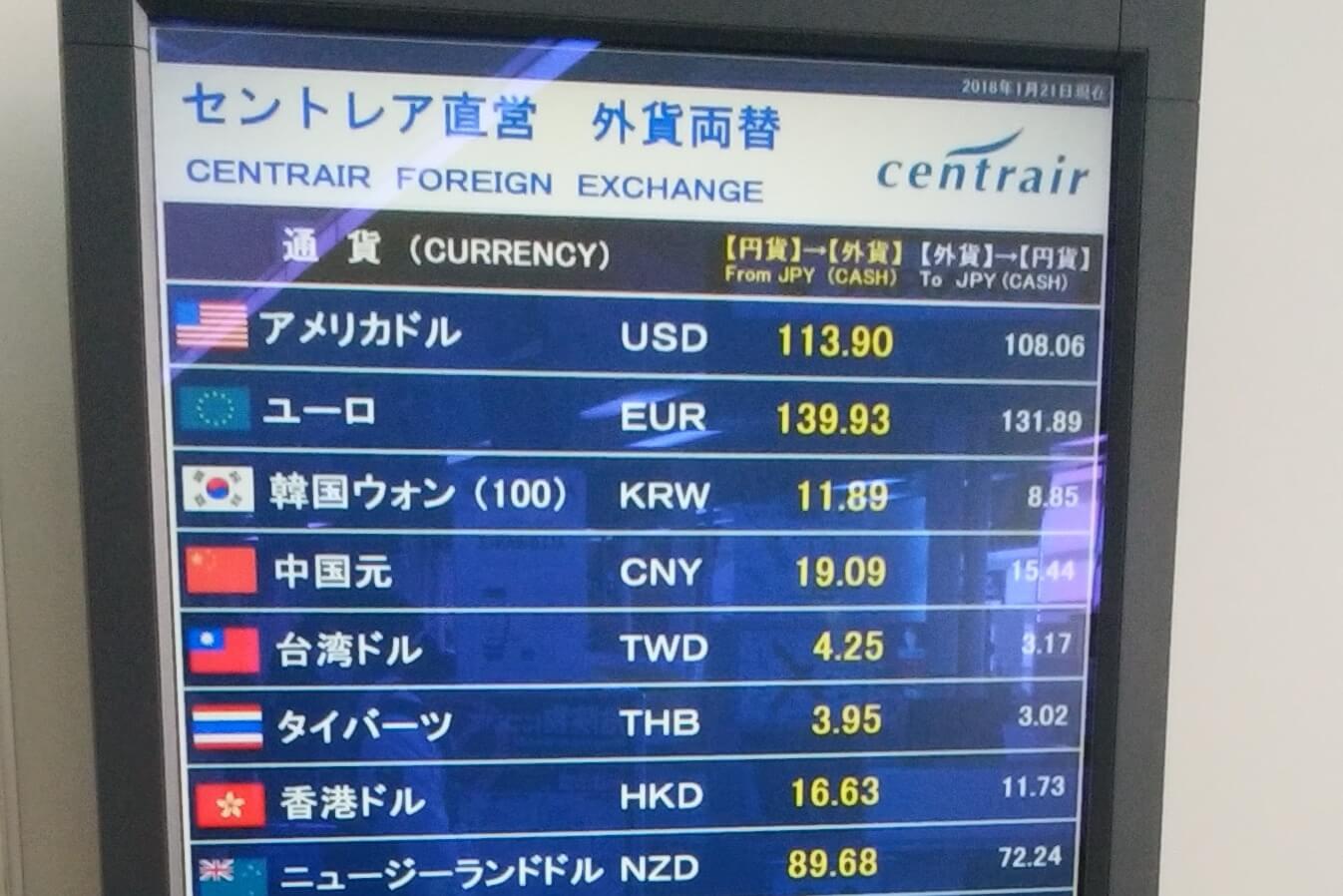 セントレアでの両替店にて。円は約140円で買い、132円で売れた(2018年1月21日、135円のレートにて)