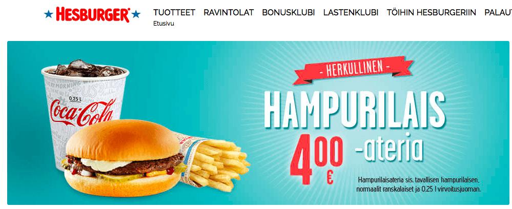 ヘスバーガーのホームページ画像。セットメニューが4ユーロから購入できる