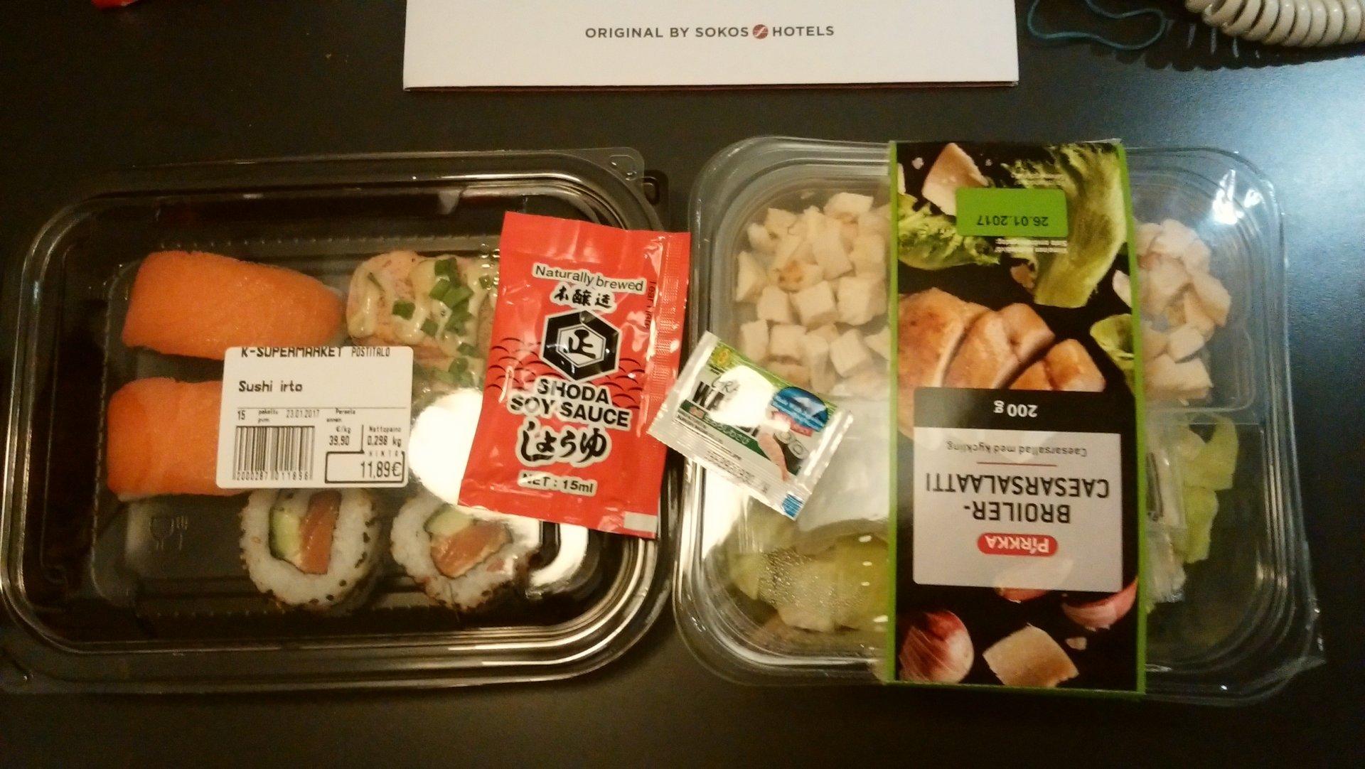 スーパーで購入したフィンランドの寿司