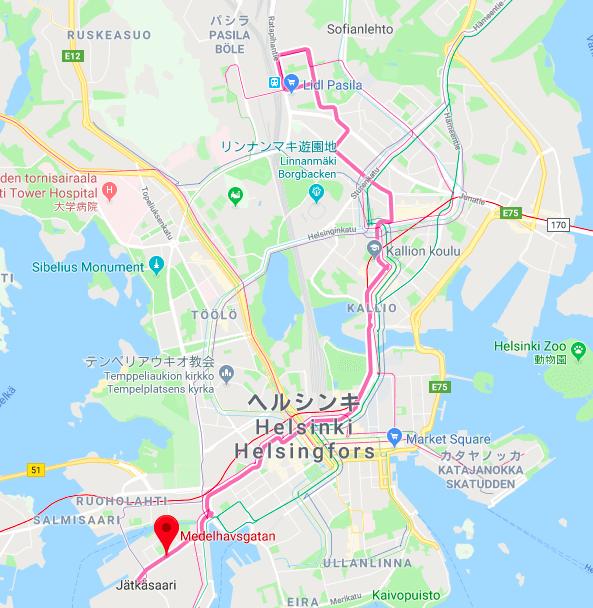 トラム9番線のルート図