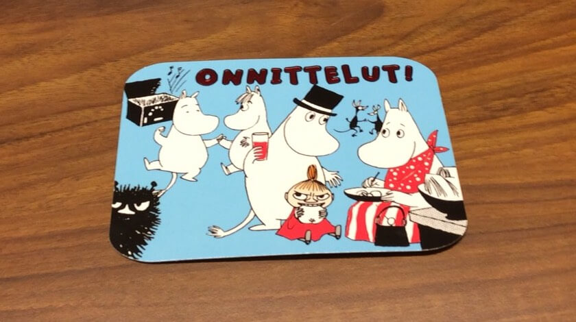 ヘルシンキ中央郵便局で購入したはがき。ムーミンのデザインを選んだ