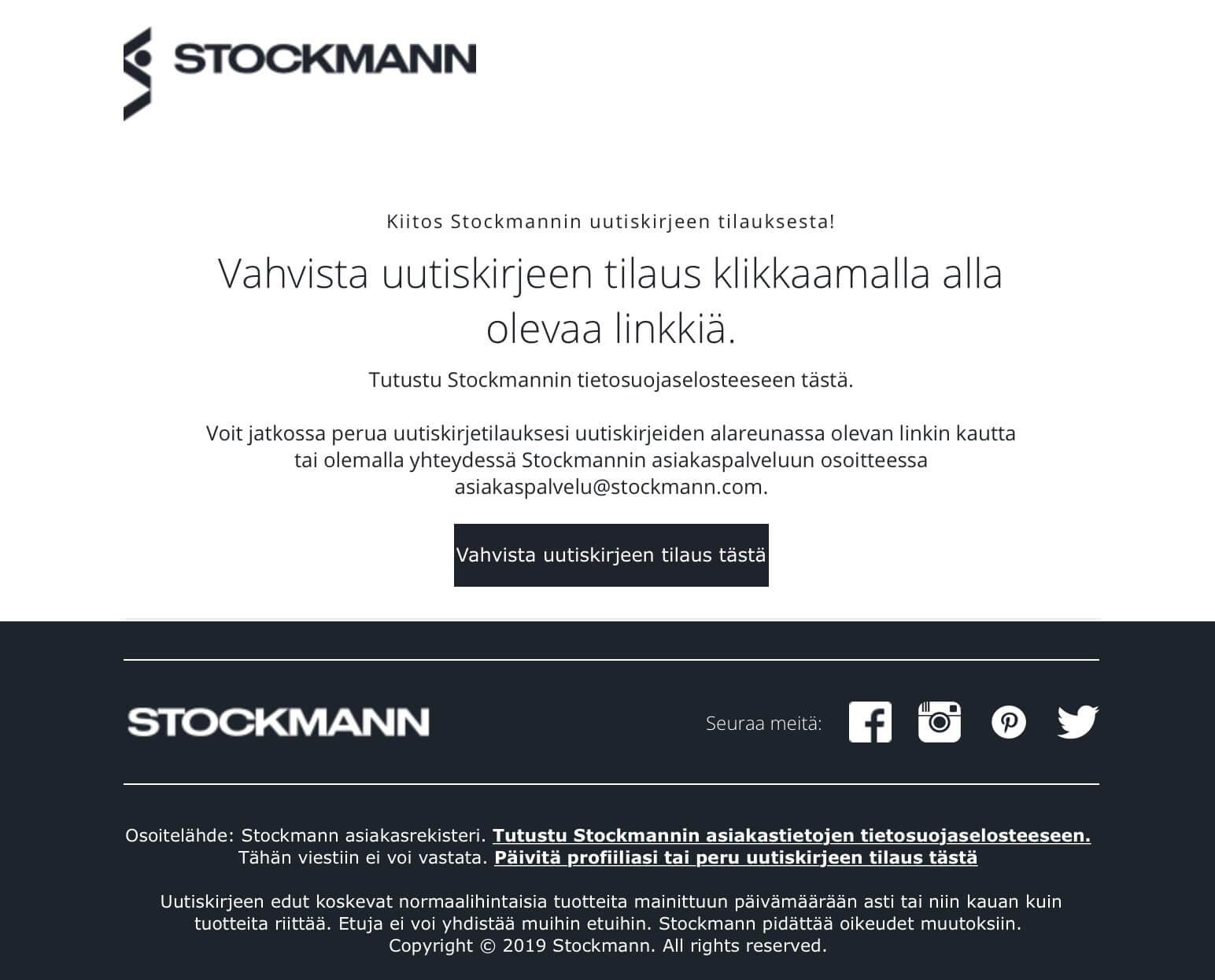 ストックマンのニュースレターが登録されたことを示すメール